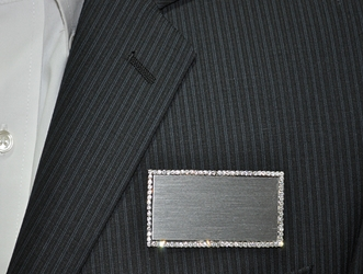 Logo on  silver bling rectangle