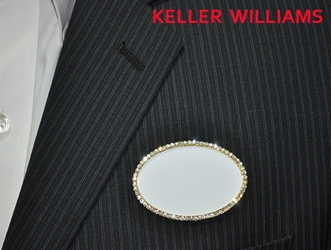KW logo on white/gold bling oval