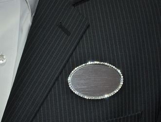 Logo on silver bling oval