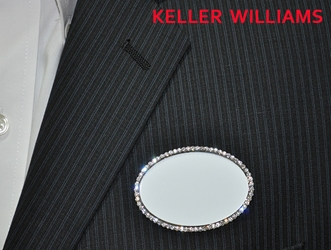 KW logo on white/silver bling oval